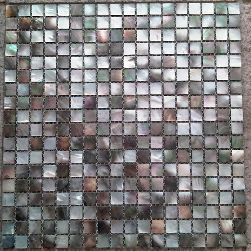 "Black Mother Of Pearl Natural Shell Mosaic Sheet 15mm - 1/2"", 1 tile"
